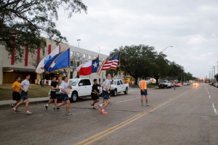 The formation run included the carrying of the American, Texas, Army and Air Force flags. |Sara Samora/The Cougar