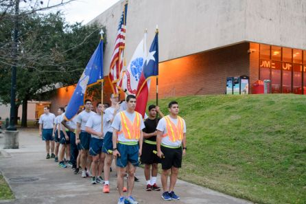 The Air Force ROTC broke off from the formation into their own squad. | Sara Samora/ The Cougar