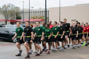 The Houston Battalion marched in after the room before coming to a complete halt. |Sara Samora/The Cougar