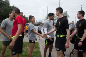 ROTC cadets shook the hand of Army veteran and chemistry sophomore Angelica Cobb, who ran in formation with the battalion. |Sara Samora/The Cougar