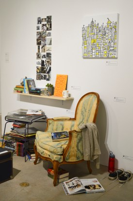 An assemblage of artwork bears an uncanny resemblance to a room. | Betty Henriquez/The Cougar