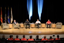 From left to right, Mark Wiltshire, U.S. Army Major General Barrye L. Price, District Fire Chief Richard Cole and former United States Air Force Major Elton Davis come together to share experiences on Friday morning . | Dailey Hubbard/ The Cougar