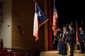 Presentation of the Colors: ROTC members begin their memorial at the Student Center Theater. | Dailey Hubbard/ The Cougar