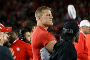 J.J. Watt, a defensive end for the Houston Texans, was on the sideline on Saturday. | Justin Tijerina/The Cougar
