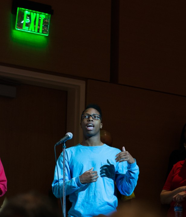 Student Devin Sanders asked the panel about students' safety in dorms.   Pablo Milanese/The Cougar