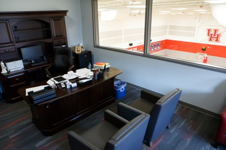 Head coach Kelvin Sampson's office has a large window overlooking the court. | Justin Tijerina/The Cougar