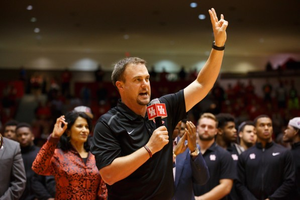 Head football coach Tom Herman spoke to fans and students at the halftime in a ceremony celebrating the 13-1 season. | Justin Tijerina/The Cougar
