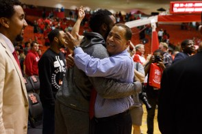 Houston Rocket James Harden was on hand to celebrate with his former coach after the Cougars big 71-68 win. | Justin Tijerina/The Cougar
