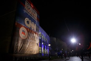 A huge CNN banner adorned the side of the M.D. Anderson Library. | Justin Tijerina