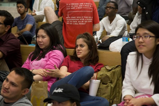 Some students expressed concern over one of the candidates' statements. | Photo by Justin Cross.