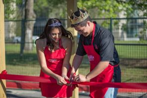 Together the new Mr. and Miss Fiesta cut the ribbon initiating Frontier Fiesta's activities for its first day. | Justin Cross/The Cougar