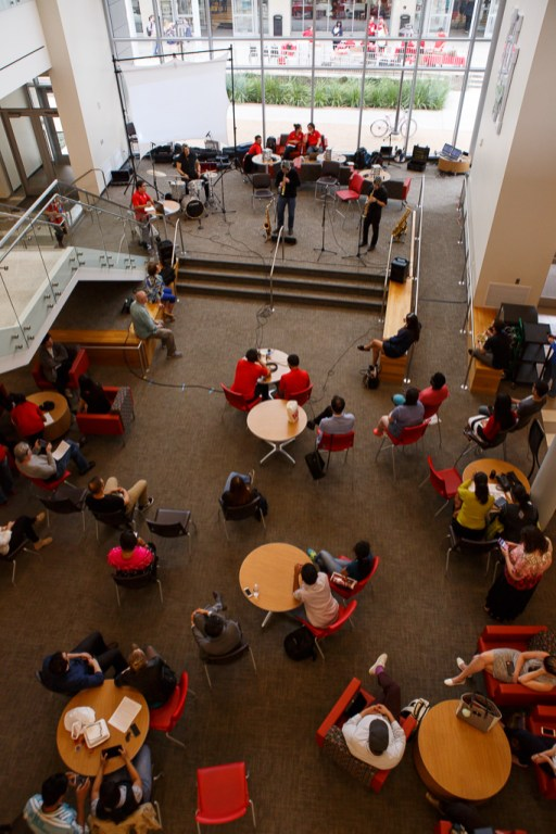 Students gather in the first floor of the Student Center North Building to see the performance on Tuesday afternoon.   Justin Tijiera/The Cougar