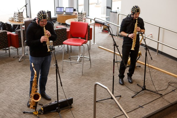 """Saxophonists Woody Witt and Dan Gelok, both faculty members at the UH Moores School of Music, and drummer Guillermo """"Memo"""" Reza performed while researchers record their brain activity. 