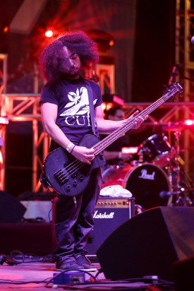 Damani Johnson, playing the bass and keyboard, was part of A More Perfect Union's performance that concluded the night. | The Cougar/Justin Tijerina
