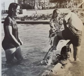 Unnamed students enjoying the fountains.   Taken from The Cougar, 1972
