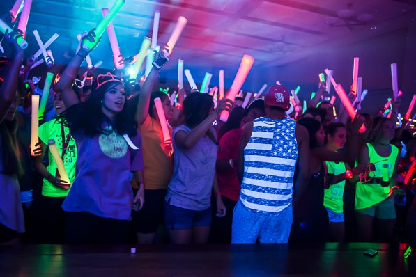 Glow Party, a Weeks of Welcome event that typically draws thousands of students to Lynn Eusan Park each August, was held in the Student Center South's Houston Room Thursday night due to weather concerns. | Justin Cross/The Cougar