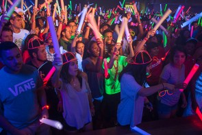 Over 1,500 students packed the Houston Room for EDM and glow accessories. | Justin Cross/The Cougar