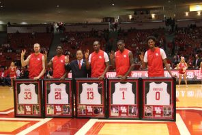 """It was senior night in Hofheinz. Cougar fans said goodbye to center Kyle Meyer, Damyean Dotson, Bertrand Nkali, Xavier Dupree and Danrad """"Chicken"""" Knowles.   Thomas Dwyer/The Daily Cougar"""