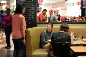 Many students said they enjoyed lunch at Moody Towers Dining Commons, where all stations were open despite a reduced campus population. | Thomas Dwyer/The Cougar
