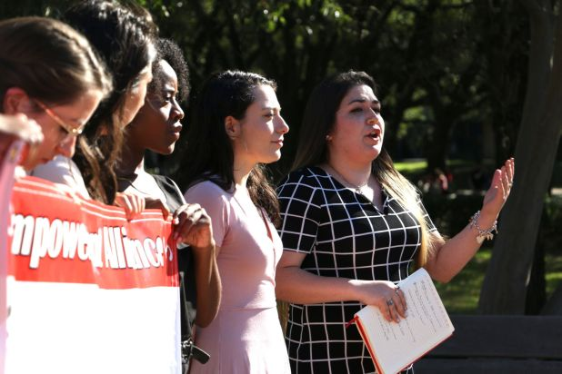 Maria Gonzalez-Trevino, president of the UH Youth Empowerment Alliance, stands alongside other student leaders as they call for protection of UH's undocumented students. | Abby Lang/The Cougar