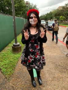 """""""I'm Mexican, so obviously I'm going to show it off, and I just think it looks really nice,"""" said biotech junior Jacqueline Calzada about her Day of the Dead costume. 