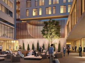 The courtyard of the hotel, which is used by guests and students alike, will get a new look. | Courtesy of MAQE