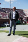 Head Coach Dana Holgerson previews the stadium several hours before kick-off. | Trevor Nolley/The Cougar
