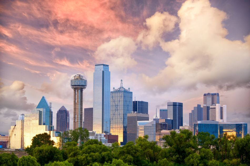 34176039 - dallas city skyline at sunset, texas, usa