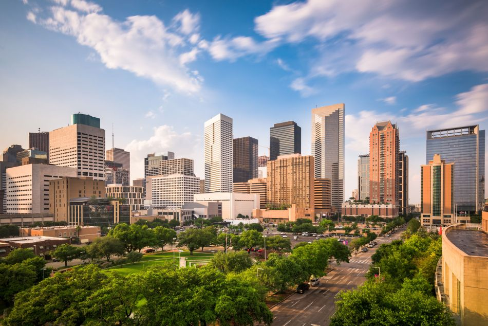 59289419 - houston, texas, usa downtown city park and skyline.