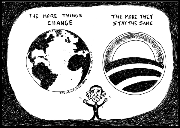 cartoon comic strip featuring satire of  Obama juggling basketball issues of global change and keeping the status quo , from laughzilla for TheDailyDose.com