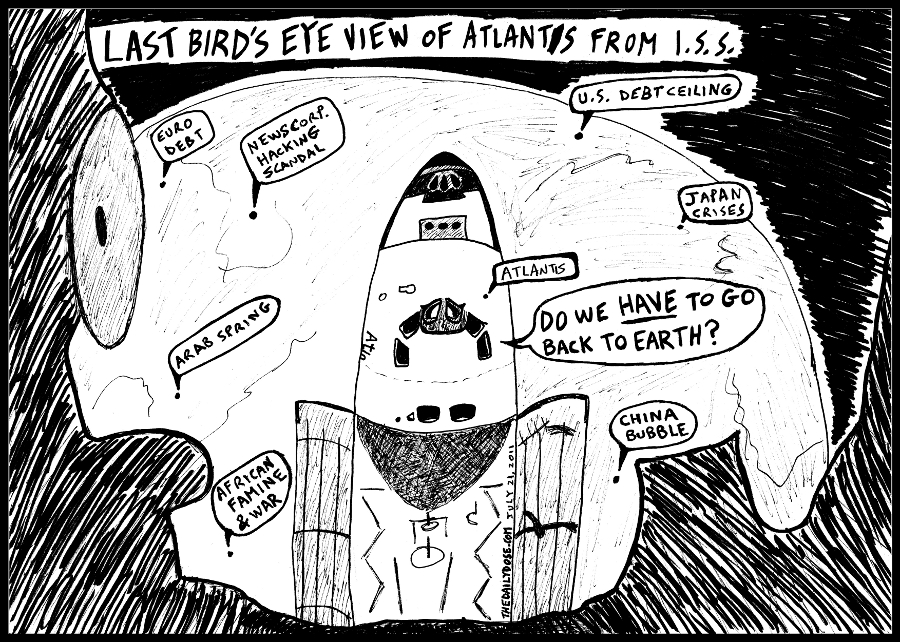 editorial cartoon panel of news headlines seen from space at the International Space Station over NASA space shuttle Atlantis parody line drawing art ink on paper 2011 july 21 , from laughzilla for TheDailyDose.com