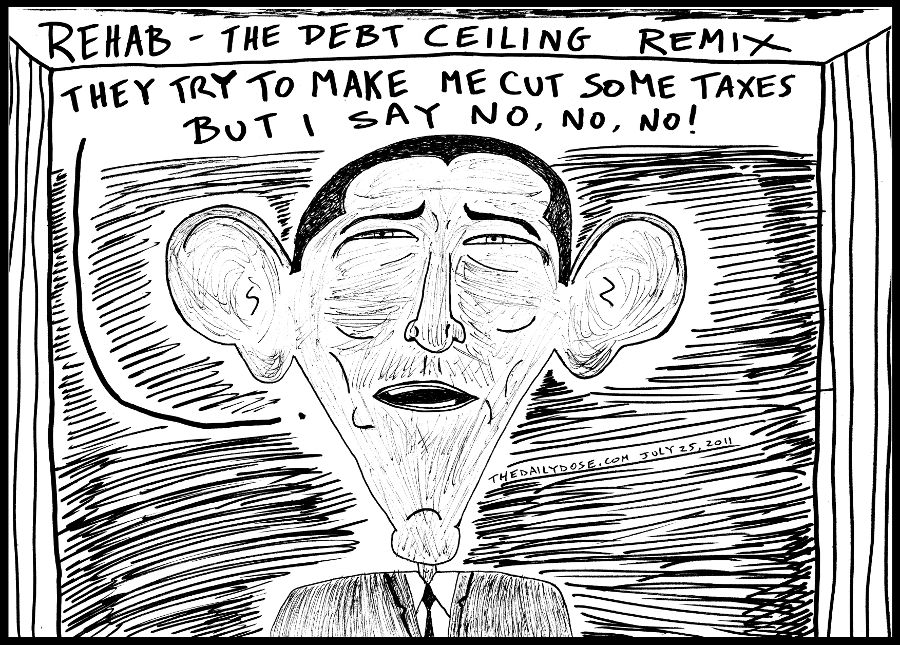 editorial cartoon panel of president obama redux of amy winehouse rehab song lyrics for his stance on taxes and the u.s. debt ceiling news parody line drawing art ink on paper 2011 july 25 , from laughzilla for TheDailyDose.com