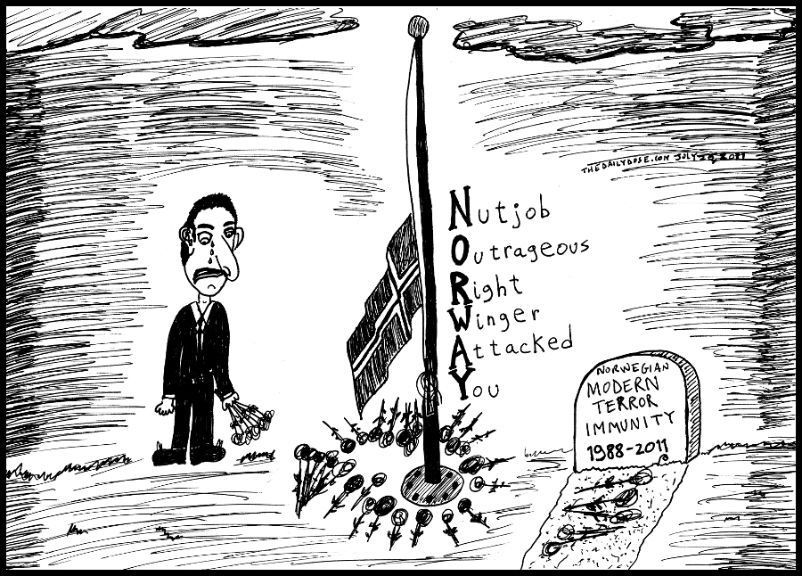 editorial cartoon panel of a man mourning for Norway after it suffered a homegrown right wing extremist terrorist attack news parody line drawing art ink on paper 2011 july 27 , from laughzilla for TheDailyDose.com