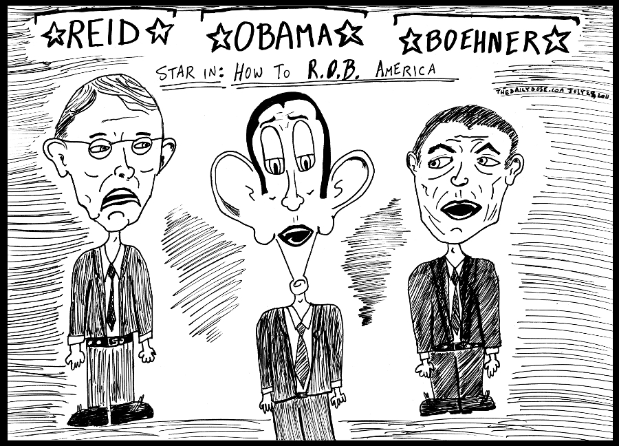 editorial cartoon panel of senator reid and congressman boehner with president obama as stars of a new movie called how to R.O.B. America news parody line drawing art ink on paper 2011 july 31 , from laughzilla for TheDailyDose.com