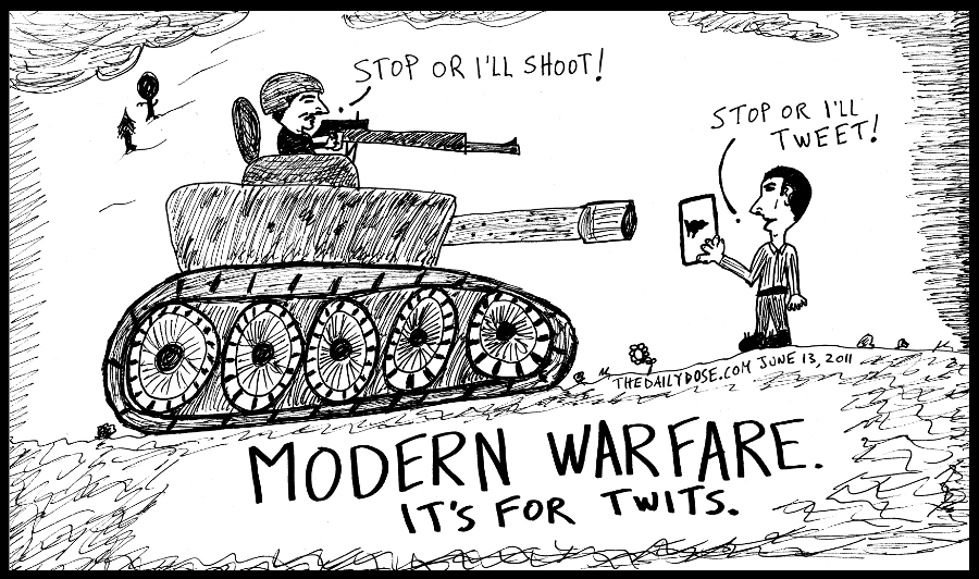 cartoon panel of modern warfare twitter cyberculture internet technology line drawing people power parody art ink on paper 2011 june 13 , from laughzilla for TheDailyDose.com