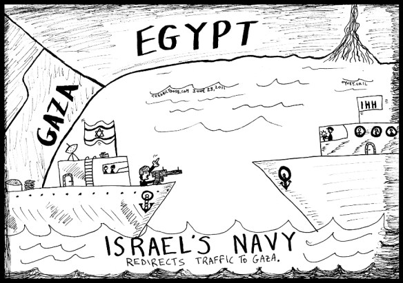 political cartoon of the Israeli Navy redirecting IHH Gaza Flotilla traffic to Egypt