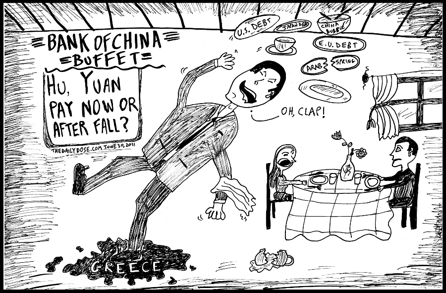 political cartoon panel of bank of china buffet  worldwide economic financial crash news line drawing art ink on paper 2011 june 30 , from laughzilla for TheDailyDose.com