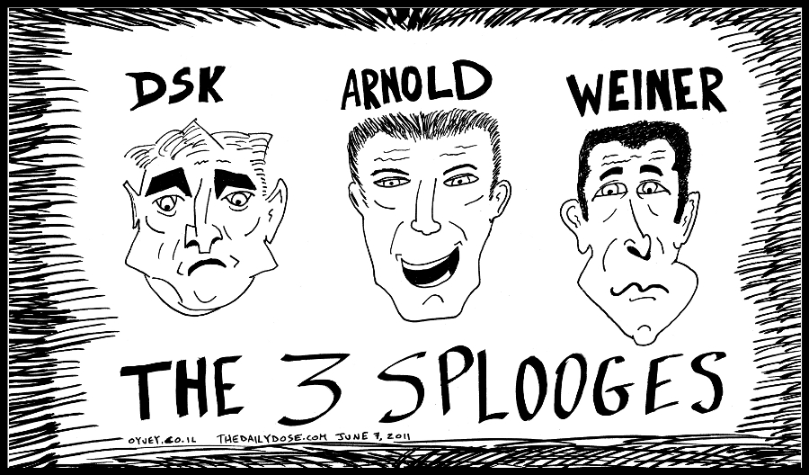 political cartoon panel of former imf boss dsk former governor arnold sperminator and congressman anthony weiner as the three splooges news satire line drawing art ink on paper 2011 june 7 , from laughzilla for TheDailyDose.com