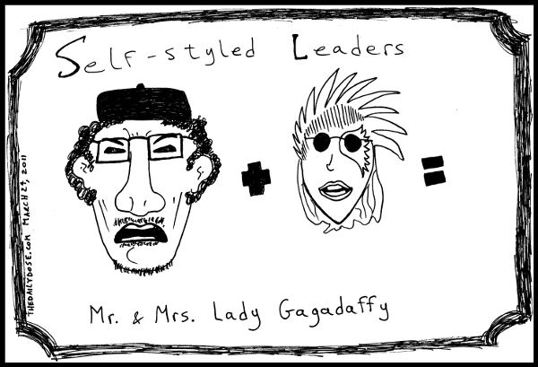 cartoon comic strip featuring a very fashionable fantasy bad romance of  gaddafi and lady gaga , from laughzilla for TheDailyDose.com