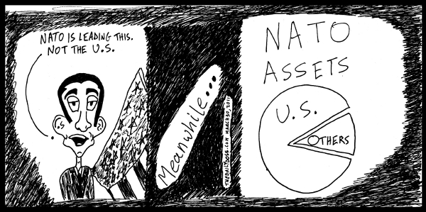 cartoon comic strip featuring president obama defending us  position and nato leadership on libya war , from laughzilla for TheDailyDose.com