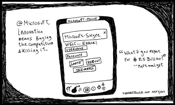cartoon comic strip featuring microsoft skype $8.5 Billion deal , from  laughzilla for TheDailyDose.com