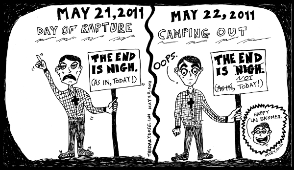 editorial cartoon panel featuring reverend camping false prophecy that 2011 may 21 would be the day of rapture, maybe he was mistaken by the lag ba'omer bonfires drawing doomsday satire fundamentalist religion culture parody art ink on paper 2011 may 22 , from laughzilla for TheDailyDose.com