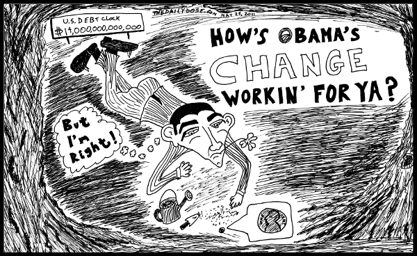 political cartoon panel featuring president obama and  obamanomics ecomony business politics news culture parody trend line drawing art ink on paper 2011 may 25 , from laughzilla for TheDailyDose.com