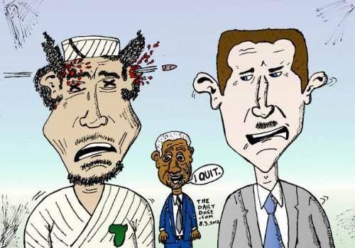 gadaffy assad annan political cartoon