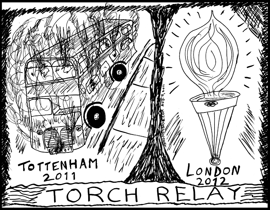 riots in tottenham london england news line drawing editorial cartoon 2011 august 7 by laughzilla for thedailydose.com