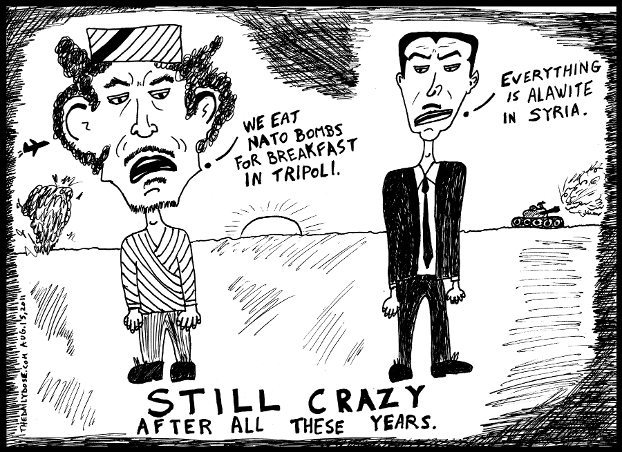 gadaffi cartoon assad caricature by laughzilla for the daily dose