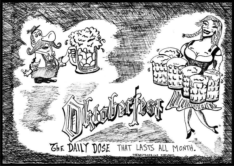 oktoberfest editorial cartoon comic strip caricature by laughzilla for the daily dose