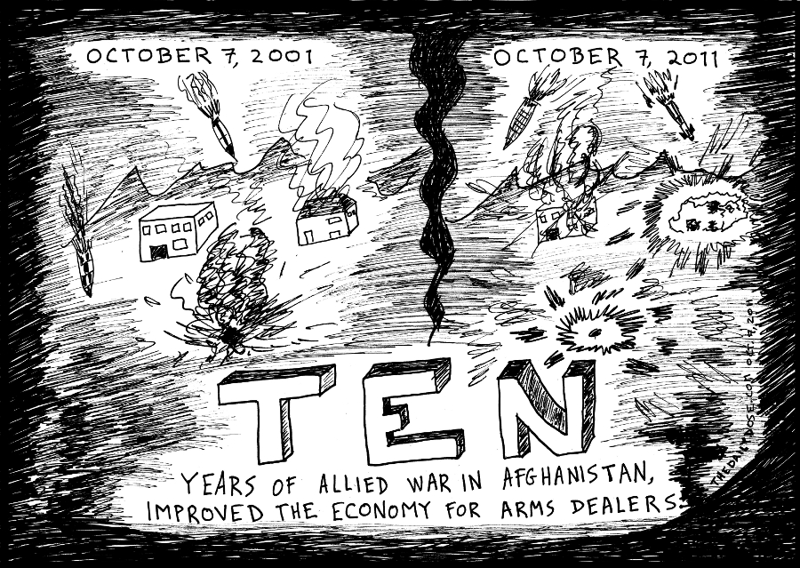 10 years of war on terror editorial cartoon caricature tenth anniversary u.s. afghan war comic strip caricature by laughzilla for the daily dose