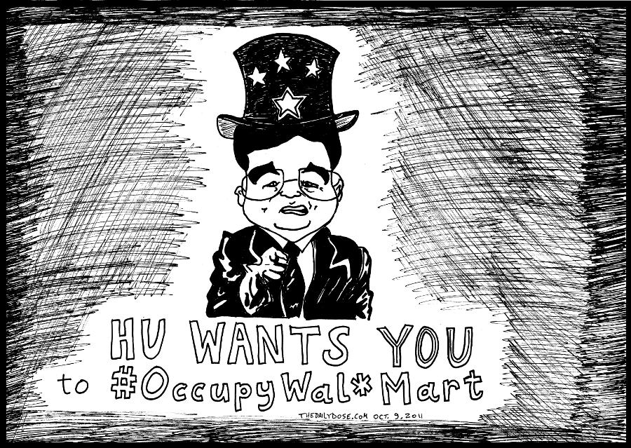 occupywalmart editorial cartoon uncle hu jintao comic strip caricature by laughzilla for the daily dose