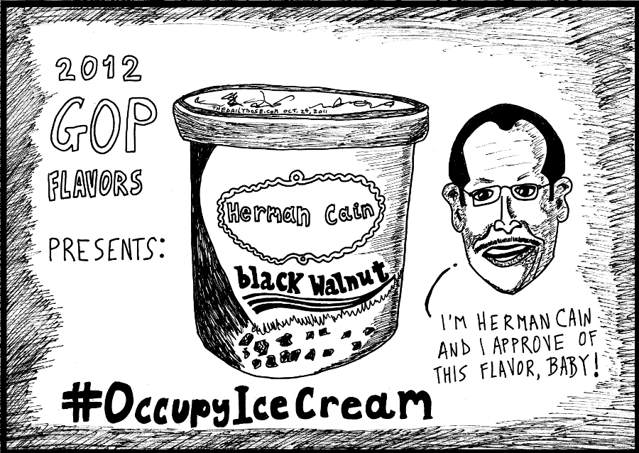 black walnut Herman Cain political cartoon occupywallstreet comic strip occupyicecream caricature by laughzilla for the daily dose